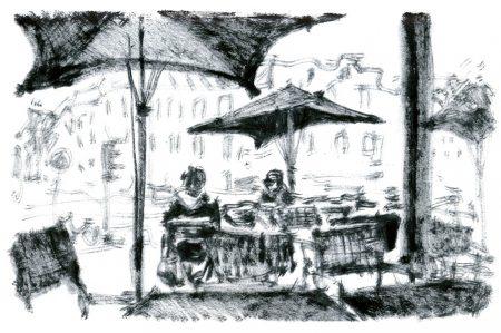 Berlin, cafe at Rosenthaler place