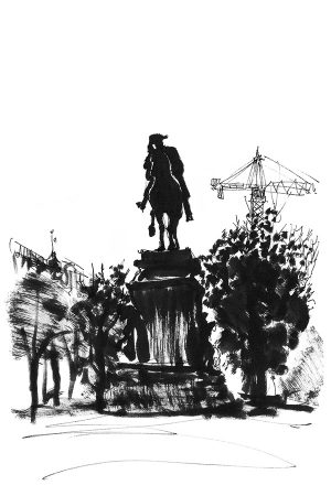 Equestrian statue of Frederick the Great in Unter-den-Linden street